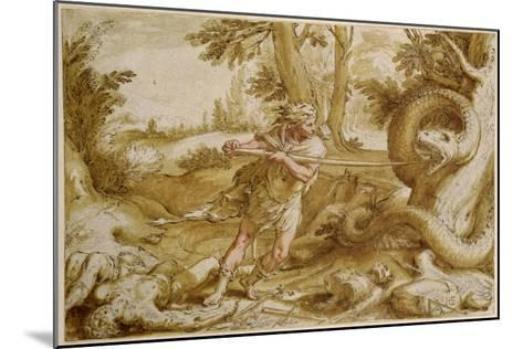 Cadmus About to Attack a Dragon-Hendrik Goltzius-Mounted Giclee Print