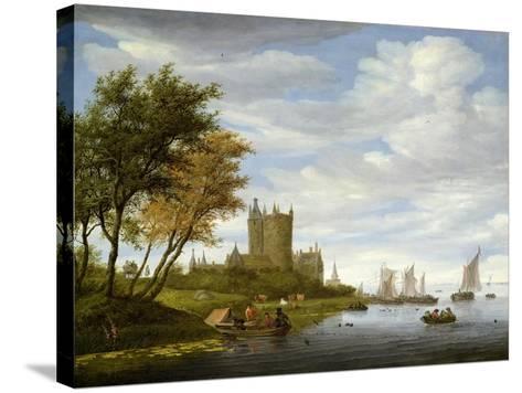 River Estuary with a Castle-Salomon van Ruisdael or Ruysdael-Stretched Canvas Print