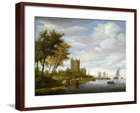 River Estuary with a Castle-Salomon van Ruisdael or Ruysdael-Framed Art Print
