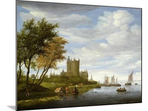 River Estuary with a Castle-Salomon van Ruisdael or Ruysdael-Mounted Giclee Print