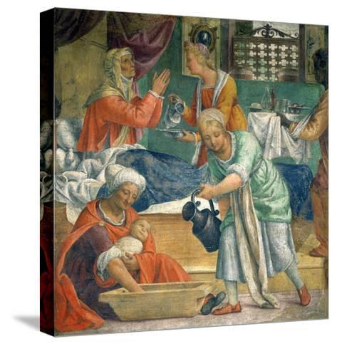The Birth of the Virgin-Bernardino Luini-Stretched Canvas Print