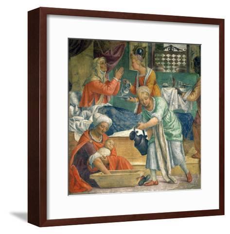 The Birth of the Virgin-Bernardino Luini-Framed Art Print