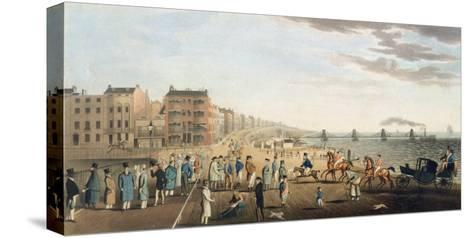 The Chain Pier at Brighton with Characters-G.m. Brighty-Stretched Canvas Print