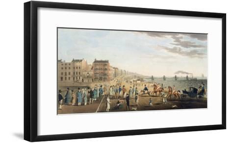 The Chain Pier at Brighton with Characters-G.m. Brighty-Framed Art Print
