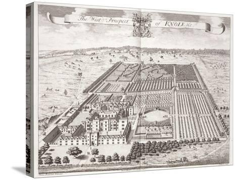 The West Prospect of Knole, Thirty Six Different Views of Noblemen and Gentlemen's Seats-Thomas Badeslade-Stretched Canvas Print