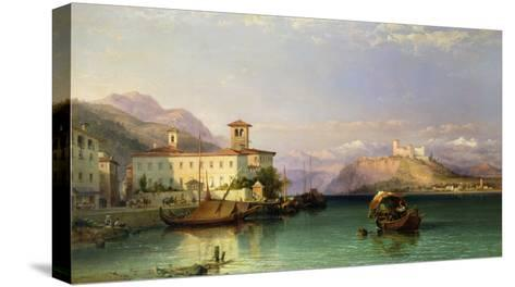 Arona and the Castle of Angera, Lake Maggiore, 1856-George Edwards Hering-Stretched Canvas Print
