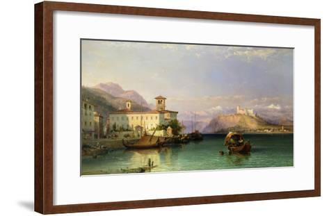 Arona and the Castle of Angera, Lake Maggiore, 1856-George Edwards Hering-Framed Art Print