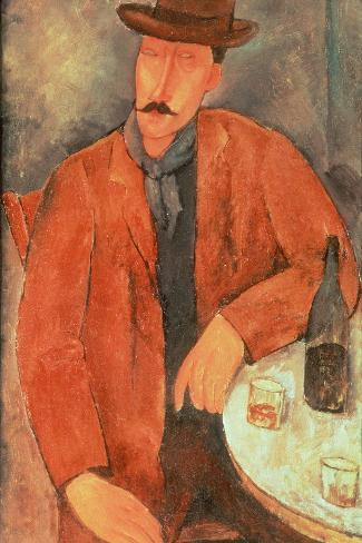Seated Man Leaning on a Table-Amedeo Modigliani-Stretched Canvas Print