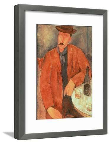 Seated Man Leaning on a Table-Amedeo Modigliani-Framed Art Print