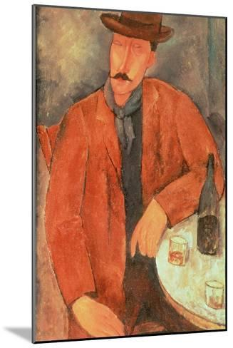 Seated Man Leaning on a Table-Amedeo Modigliani-Mounted Giclee Print