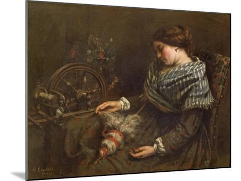The Sleeping Embroiderer, 1853-Gustave Courbet-Mounted Giclee Print