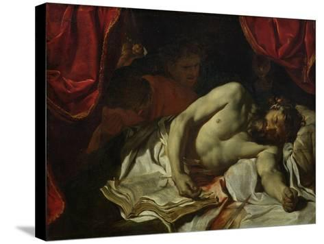 The Death of Cato of Utica-Charles Le Brun-Stretched Canvas Print