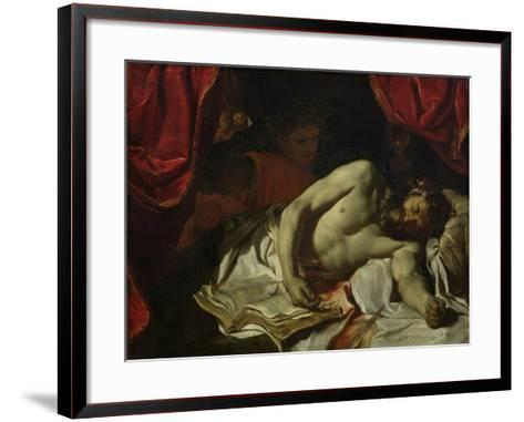 The Death of Cato of Utica-Charles Le Brun-Framed Art Print