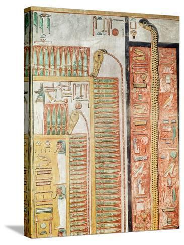 Relief Depicting the Path Which the Dead Must Cross to the Afterlife, from the Tomb of Seti I- Egyptian 19th Dynasty-Stretched Canvas Print