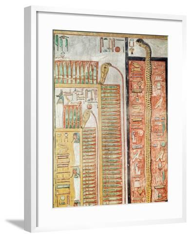 Relief Depicting the Path Which the Dead Must Cross to the Afterlife, from the Tomb of Seti I- Egyptian 19th Dynasty-Framed Art Print