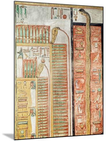Relief Depicting the Path Which the Dead Must Cross to the Afterlife, from the Tomb of Seti I- Egyptian 19th Dynasty-Mounted Giclee Print