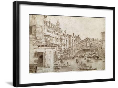 The Rialto Bridge, Venice-Francesco Guardi-Framed Art Print