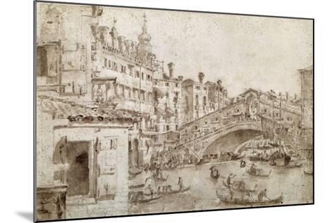 The Rialto Bridge, Venice-Francesco Guardi-Mounted Giclee Print