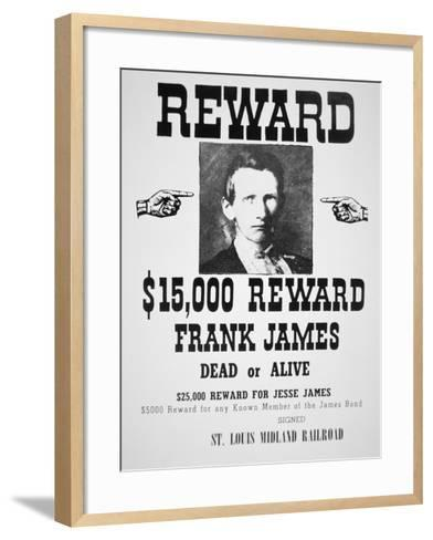 Reward Poster For Frank James--Framed Art Print