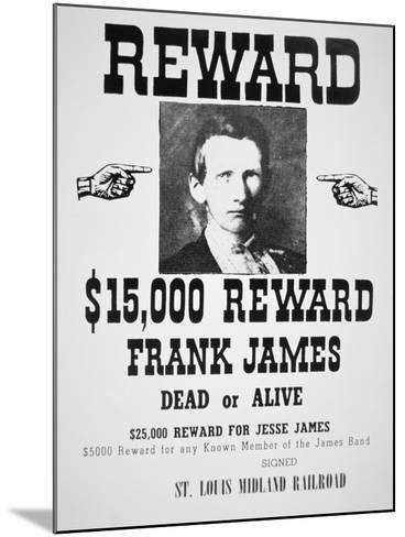 Reward Poster For Frank James--Mounted Giclee Print