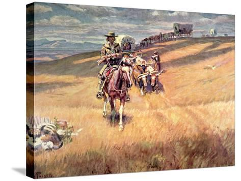 When Wagon Trails Were Dim-Charles Marion Russell-Stretched Canvas Print