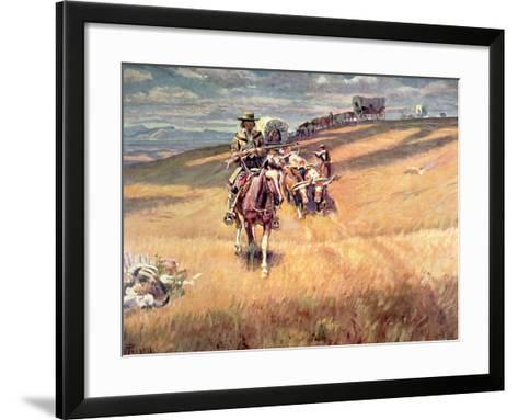 When Wagon Trails Were Dim-Charles Marion Russell-Framed Art Print