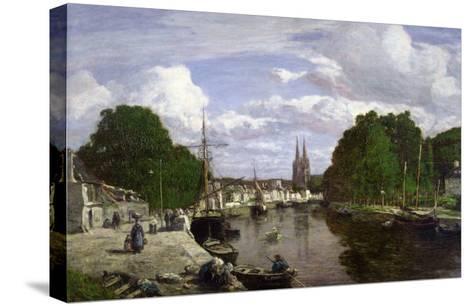 The Port at Quimper, 1857-Eug?ne Boudin-Stretched Canvas Print