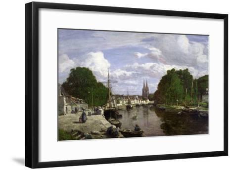 The Port at Quimper, 1857-Eug?ne Boudin-Framed Art Print