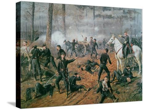 Captain Hickenlooper's Battery in the Hornet's Nest at the Battle of Shiloh, April 1862-T. C. Lindsay-Stretched Canvas Print