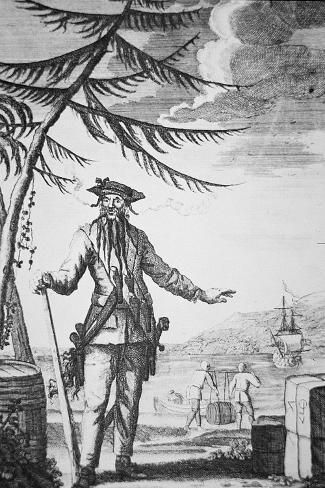 Blackbeard the Pirate--Stretched Canvas Print