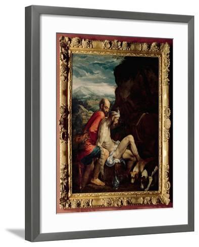 The Good Samaritan, c.1550-70-Jacopo Bassano-Framed Art Print