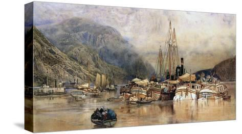 Shipping on the Hudson River-Samuel Colman-Stretched Canvas Print