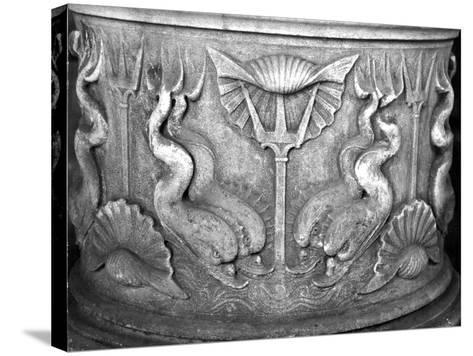 Base of a Holy Water Fountain, Carved with Dolphins, San Marco Basilica--Stretched Canvas Print