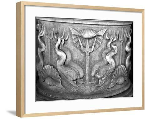 Base of a Holy Water Fountain, Carved with Dolphins, San Marco Basilica--Framed Art Print