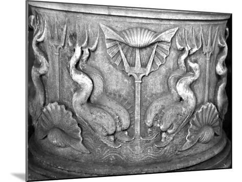 Base of a Holy Water Fountain, Carved with Dolphins, San Marco Basilica--Mounted Giclee Print