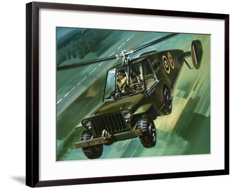 Into the Blue: The Flying Jeep-Wilf Hardy-Framed Art Print