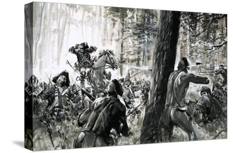In 1765, General Edward Braddock Was Ambushed by French Soldiers and Fierce Canadian Indians-Graham Coton-Stretched Canvas Print