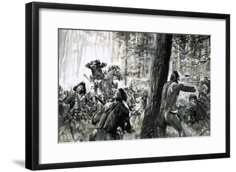 In 1765, General Edward Braddock Was Ambushed by French Soldiers and Fierce Canadian Indians-Graham Coton-Framed Art Print