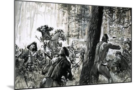 In 1765, General Edward Braddock Was Ambushed by French Soldiers and Fierce Canadian Indians-Graham Coton-Mounted Giclee Print