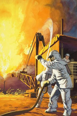 Fireman in Safety Suit Fighting a Fire at an Oil Field-Angus Mcbride-Stretched Canvas Print