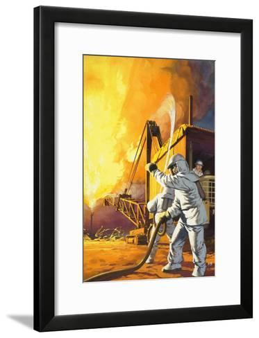 Fireman in Safety Suit Fighting a Fire at an Oil Field-Angus Mcbride-Framed Art Print