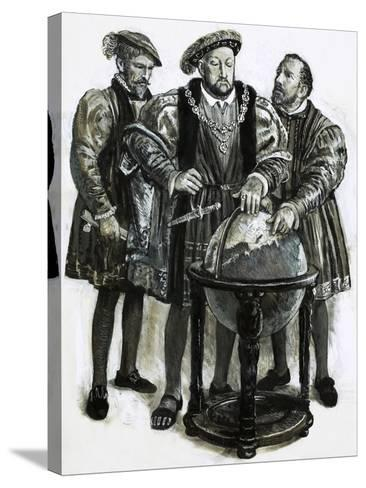 Henry VIII Agrees to Plans to Sail to China by a North-East Passage-Clive Uptton-Stretched Canvas Print