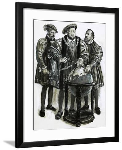 Henry VIII Agrees to Plans to Sail to China by a North-East Passage-Clive Uptton-Framed Art Print