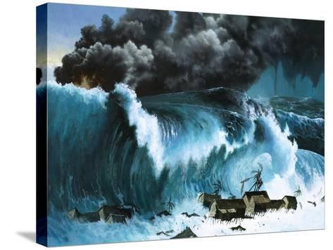 Tsunami Following Eruption of Krakatoa-Severino Baraldi-Stretched Canvas Print
