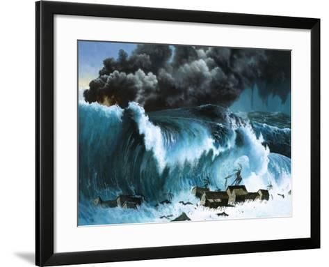 Tsunami Following Eruption of Krakatoa-Severino Baraldi-Framed Art Print