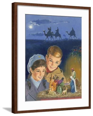 Children Admiring Nativity Scene-Clive Uptton-Framed Art Print