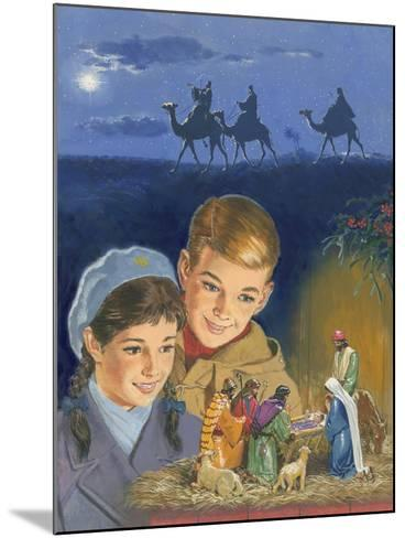 Children Admiring Nativity Scene-Clive Uptton-Mounted Giclee Print