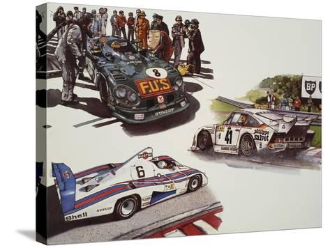 Racing Cars--Stretched Canvas Print