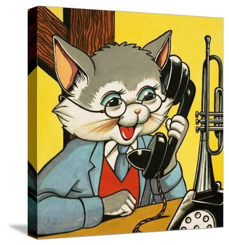 Cat Answering the Telephone--Stretched Canvas Print