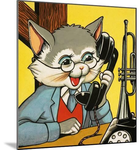 Cat Answering the Telephone--Mounted Giclee Print